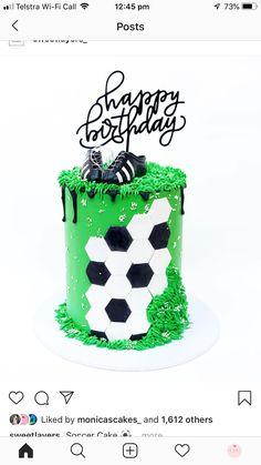 Design inspired by . 30th Birthday Cakes For Men, Soccer Birthday Cakes, Soccer Cakes, Soccer Ball Cake, Eid Cake, 21st Cake, Cupcakes, Cupcake Cakes, Cake Design For Men