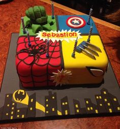 What a marvellous creation: A square cake features some Marvel characters