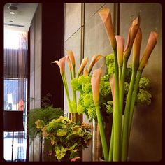 Spring has made its way into our lobby. Green Viburnum, Asparagus Fern, CallaLillies, Hellebores.