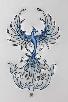 Blue Fire Phoenix Rising Original Art by jennifermckayhiggins