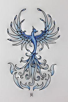 Blue Fire Phoenix Rising Original Art by jennifermckayhiggins