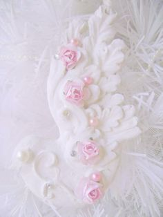 pink shabby chic | Shabby Pink and White Dress Form Ornament