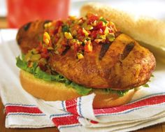 Ever-popular chicken breasts are jazzed up a la muffuletta sandwich style, providing a great option for a BBQ party—and they can easily be cooked indoors if Mother Nature dampens the mood. Muffuletta Sandwich, Bbq Party, Grilled Chicken, Salmon Burgers, Baked Potato, Minnesota, Grilling, Sandwiches, Cooking