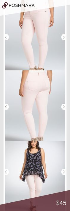 Torrid Light Pink Jegging Sz 22S Short Sz 22S. Our jegging fit + a pop of color = obsessed. The same slim fit from hip to ankle, the same tummy-smoothing three-button higher rise waist, the same comfy stretch. Mix in a light pink wash that's perfect for girly looks? Total game-changer. Higher-rise. Cotton/rayon/polyester/spandex Wash cold, dry low torrid Jeans Skinny
