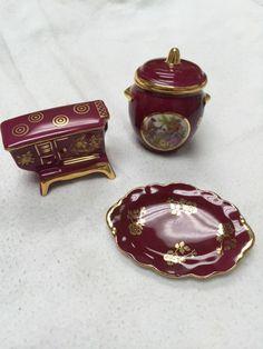 limoges miniature RED PORCELAIN STOVE watering pot soup pot and dish 4PIECES