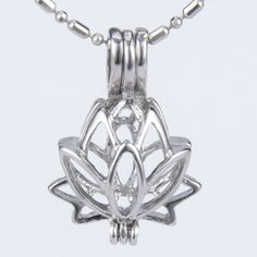 Lotus Flower Pearl Cage Pendant with Chain