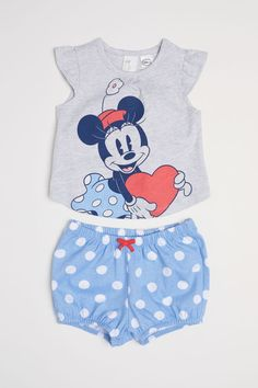 Top and Puff Pants - Light blue/Minnie Mouse - Kids Baby Outfits, Kids Outfits Girls, Little Girl Outfits, Toddler Girl Outfits, Baby Girl Pants, Girls Pants, My Baby Girl, Baby Jeans, Baby Girls