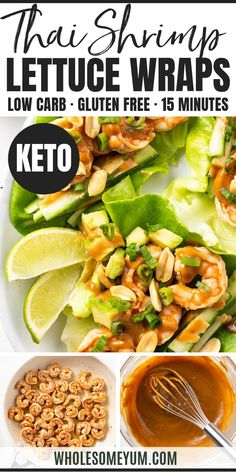 Spicy Keto Thai Shrimp Lettuce Wraps Recipe - This spicy Thai shrimp recipe is a delicious and EASY meal. Low carb keto shrimp lettuce wraps with peanut sauce are GF and take just 15 minutes to make! #wholesomeyum #keto #lowcarb #dinner #easydinner #ketodinner #lowcarbdinner #15minutes #glutenfree Low Carb Dinner Recipes, Keto Recipes, Cooking Recipes, Healthy Recipes, Keto Dinner, Lunch Recipes, Shrimp Lettuce Wraps, Lettuce Wrap Recipes, Grilled Shrimp Recipes