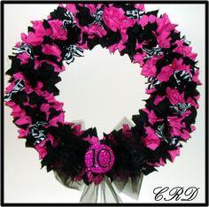 Zebra Hot Pink and Black Wreath Monogram or Birthday Number. CharleeRoseDeisgns, via Etsy.