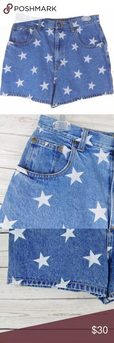 """EXP Shorts Denim HIGH Waist American Stars 11/12 EXP Women's Shorts Denim HIGH Waist American Stars Print Jean 80s 11/12 6 8  Denim high waisted shorts with star pattern. Gently Used Condition.  Size Vintage 11/12, please check measurements.  More like modern 6 or 8.   Approximate Measurements Lying Flat:  Waist: 15""""  Hips: 18""""  Rise: 13""""  Inseam: 2.5""""  B3 Vintage Shorts Jean Shorts"""