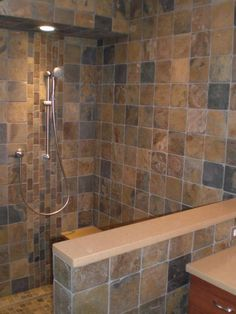 Five Star Granite custom slate shower and bathroom Bathrooms Designs Pictures, Traditional Bathroom, Custom Bathroom, Modern Bathroom Colours, Granite Shower, Bathroom Countertop Design, Slate Shower, Amazing Bathrooms, Natural Stone Bathroom