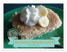 Banana Cream Cake (E) : FAN-FLIPPIN-TASTIC! This is a single serving E recipe…perfect for a dessert or even as part of a THM E breakfast. Plus, it's gluten free (if you use GF oats) and sugar free. But your taste buds will never know. Mug Recipes, Cake Recipes, Snack Recipes, Dessert Recipes, Recipies, Trim Healthy Recipes, Low Carb Recipes, Vegan Recipes, Banana Cream Cakes