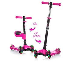 LaScoota Kick Scooter with Removable Seat great for kids & toddlers Girls or boys – Adjustable Height w/Extra-wide Deck PU Flashing Wheels for Children from 2 to 14 Year-Old – Grace Rowe's Toddler Collections Toddler Boy Toys, Kids Toys, Baby Doll Nursery, Baby Dolls, Banzai Water Slide, Barbie Camper, Best Baby Toys, Kids Scooter, Lol Dolls
