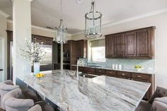 fantasy brown granite  on the island...it looks good with yellow, no?