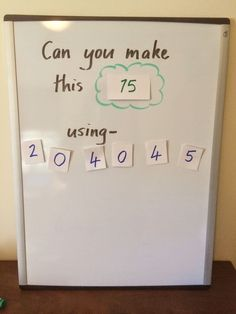 """Math to Make Them Think. """"I love the thinking involved in this simple math challenge. I call it 'Can You Make It?' Here is what the game might look like. And yes those were the digits that the children chose randomly. Math Resources, Math Activities, Elderly Activities, Dementia Activities, Physical Activities, Physical Education, Morning Activities, Health Education, Homeschool Math"""
