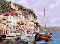 House Painting - La Barca Rossa Alla Calata by Guido Borelli