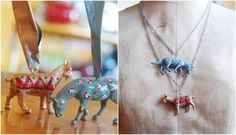 tutorial: DIY floral plastic animal toy jewelry