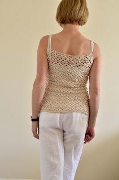 "Outstanding Crochet: Natural Cotton Crochet Top ""Flowers"""