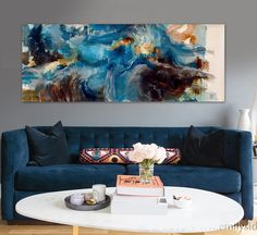 Modern abstract painting brown hand-painted blue watercolor original home decor office wall art canvas