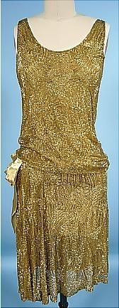Antique Dress - Item for Sale  1926 Yvonne, Paris. Gold Beaded Cotten Net Flapper Dress handmade in France. Near Mint Condition.$2,285
