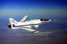 Space History Photo: Demonstrating forward swept wing technology, the X-29 Flight Research Aircraft, seen here in 1984, features one of the most unusual designs in aviation history.