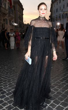 Olivia Palermo from The Best of the Red Carpet  The style maven attends the Valentino haute couture show in a floor-sweeping black gown featuring a sexy sheer neckline.