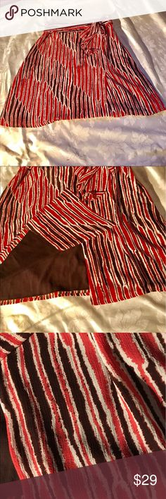 Tex by Max Azria coral and brown chiffon skirt Zebra Print Flowy belted skirt. Zips on the side with a front split. Coral brown and cream. Tex by Max Azria Skirts Midi