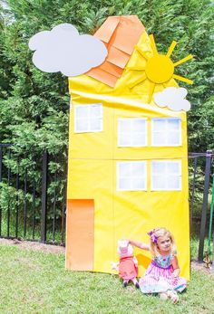 Bright and cheerful yellow Peppa Pig house from a Cheerful Peppa Pig Birthday Party at Kara's Party Ideas. Pig Birthday, 2nd Birthday Parties, Birthday Ideas, Peppa Pig House, Kool Kids, Pig Party, Best Part Of Me, Party Ideas, Fun