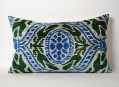 Hand woven hand dyed Blue Green Ikat Velvet Pillow by pillowme