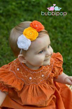 Items similar to Halloween dulces maíz naranja blanco y amarillo sentía gran roseta diadema mano moldeadas (recién nacidos a adultos disponible dimensionamiento) on Etsy