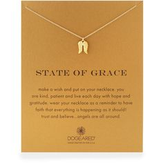 """Dogeared Gold-Dipped """"State of Grace"""" Necklace ($58) ❤ liked on Polyvore featuring jewelry, necklaces, gold, dogeared necklace, angel wing necklace, angel wing pendant, 14k jewelry and dogeared jewelry"""