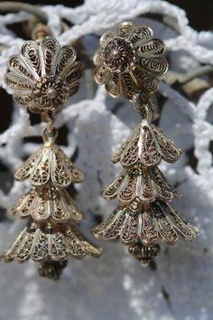 VINTAGE STERLING SILVER CANNETILLE FILIGREE RINGING BELL SCREW BACK EARRINGS