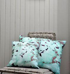 Maple rosemary mint - linen pillow made in France by Leligne (Celine Richard)