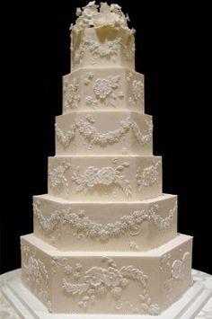 White Wedding Cakes Traditional brush embroidery wedding cake by isrc Extravagant Wedding Cakes, Big Wedding Cakes, Amazing Wedding Cakes, Elegant Wedding Cakes, Wedding Cake Designs, Wedding Cake Toppers, Amazing Cakes, Ivory Wedding, Wedding Favours Luxury