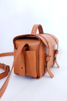 Brown Leather Camera Bag JacquelineStudio