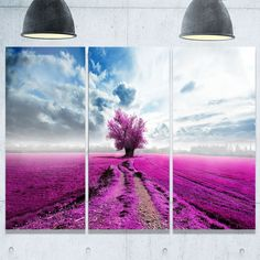 Designart - Surreal Floral World - Landscape Photography Glossy Metal Wall Art