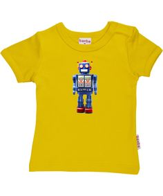 Baba Babywear yellow T-shirt with blue robot print. baba-babywear.en.emilea.be