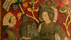 Marchioness Agnes with eponymous Monastery Church in the House of Babenberger genealogy tree at Stift Klosterneuburg German Outfit, Triptych, 15th Century, Illuminated Manuscript, Kirchen, Historian, European Fashion, Art History, Tempera