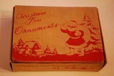 Antique victorian early mercury glass Christmas balls old box santa claus set