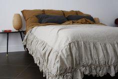 Linen coverlet linen bedspread Linen Bed skirt dust by mooshop