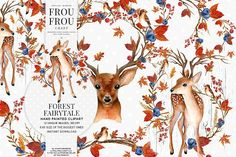 Woodland Watercolor Clip Art Deer by Frou Fou Craft on @creativemarket