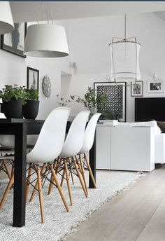 Compact Black and White Sitting and Dining Areas
