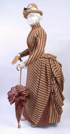 dress, cotton with chenille stripe, American, mid 1880s