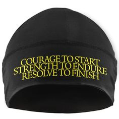Gone For a Run Run Technology Beanie Performance Hat - Courage Strength Resolve Made by #Gone For a RUN Color #Yellow. Performance Microfiber is designed for all day comfort. Moisture wicking and fast drying for frequent use. Keeps you dry and comfortable in both warm and cold weather. Hat is one size fits all - Beanie is great for working out!. Official Gone For a Run Brand Product - Passionate about sports and the products we make