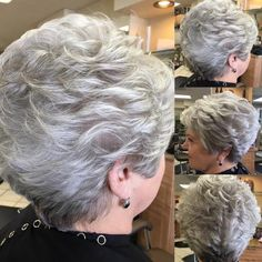 hair_beauty-Wavy Silver Crop Classy and Simple Short Hairstyles for Women over Short Haircut Styles, Cute Short Haircuts, Pixie Haircuts, Short Wedge Haircut, Crop Haircut, Short Grey Hair, Short Hair With Layers, Long Hair, Mom Hairstyles