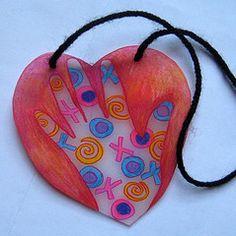 shrinky dink heart... a zentangle would be fun...