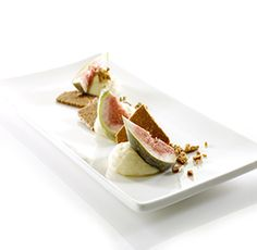 Chocolate mousse with almond thins and fresh figs