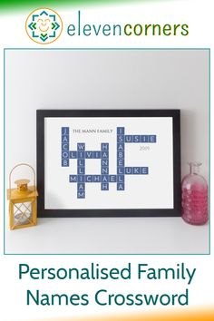 Personalised crossword with all your family names interconnected. Unique personalised family gift idea. #elevencorners #crosswords #familygift #giftideas