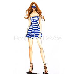 Fashion illustration, Rongrong DeVoe | Fashion sketches of July 4th outfits and Etsy shop sale
