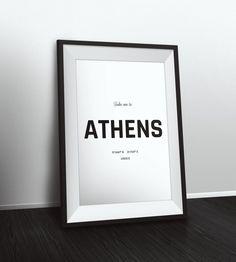 Take me to Athens coordinates, Athens decor, Typographic Print, Latitude Longitude Art, Printable Poster, Wall Art, Printable Quote by PetruCreatives on Etsy
